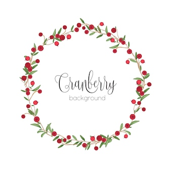 Elegant round wreath or circular frame made of cranberry sprigs hand drawn