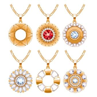 エレガントなルビーとダイヤモンドのジェムストーンジュエリーラウンドペンダントネックレスまたはブレスレットセット。ジュエリーギフトに最適です。