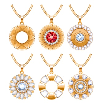 Elegant rubies and diamonds gemstones  jewelry round pendants for necklace or bracelet set. good for jewelry gift .