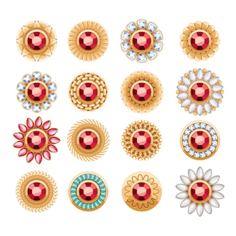 Elegant rubies gemstones  jewelry round buttons rivets decorations set. ethnic floral vignettes. good for fashion jewelry store  logo.