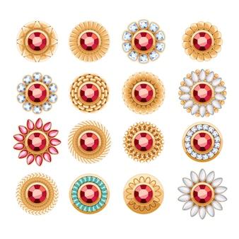 우아한 루비 보석 보석 라운드 버튼 리벳 장식 세트. 민족 꽃 장식 무늬. 패션 쥬얼리 스토어 로고에 적합합니다.