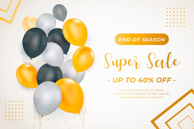 Elegant sale banner template with balloons