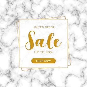 Elegant sale banner with marble texture