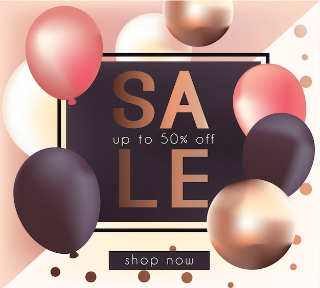 Elegant sale banner with realistic glossy metallic balloons