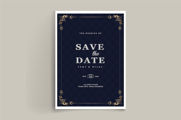 Elegant save the date invitation card