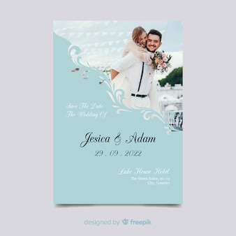 Elegant save the date invitation with photo