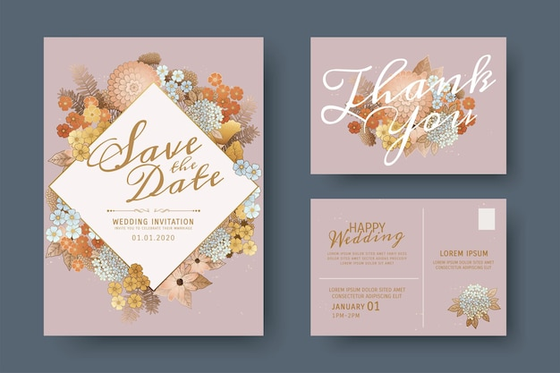 Elegant save the date template with beautiful flowers