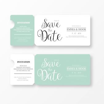 Elegant save the date ticket