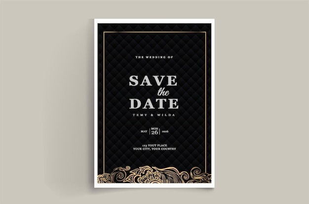 Elegant save the date wedding invitation card template set