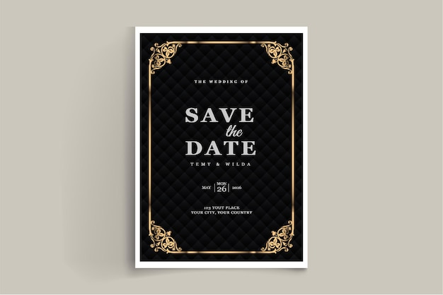 Elegant save the date wedding invitation card template