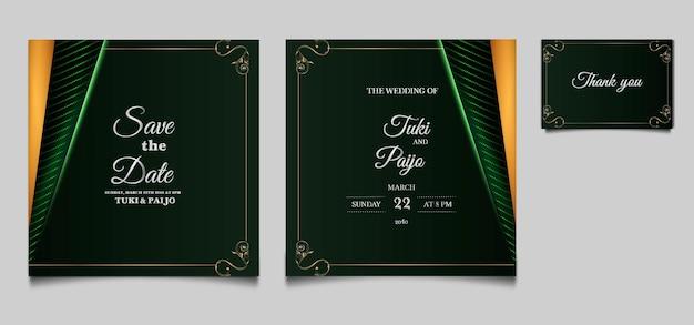 Elegant save the date wedding invitation cards set