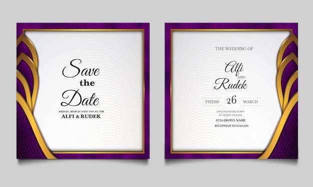 Elegant save the date wedding invitation cards set