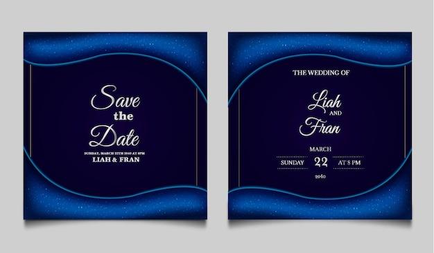 エレガントな日付を保存結婚式の招待カードのデザインセット
