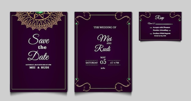우아한 저장 날짜 결혼식 초대 카드 세트