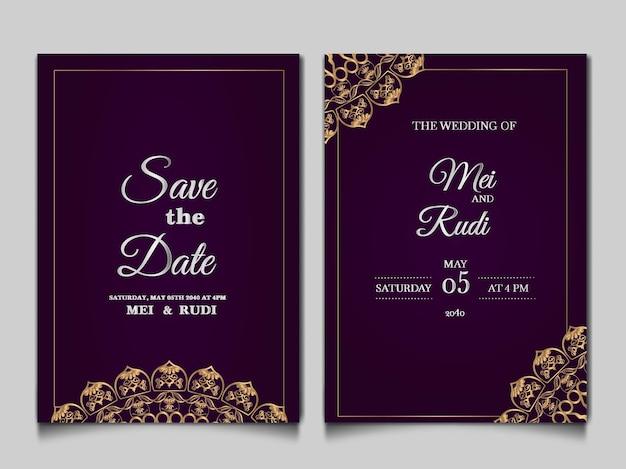 エレガントな日付の結婚式の招待カードセットを保存します 無料ベクター