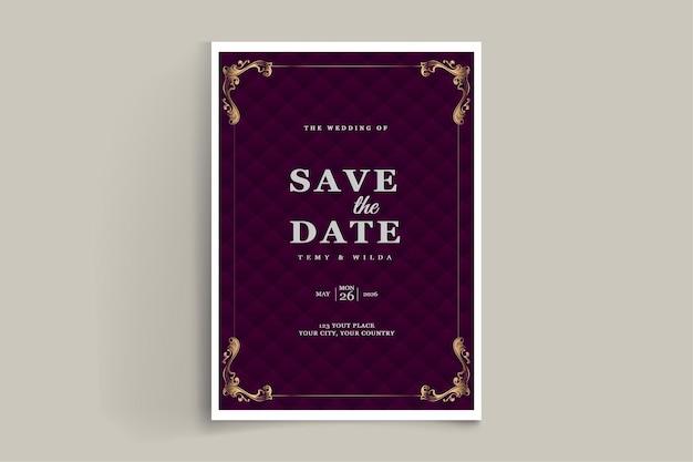 エレガントな日付の結婚式の招待カード セットを保存します。