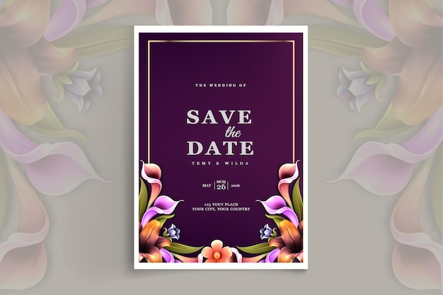 Элегантный свадебный пригласительный билет с сохранением даты Бесплатные векторы
