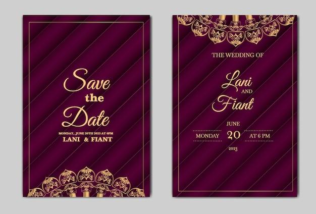 エレガントな日付の結婚式の招待カードを保存します