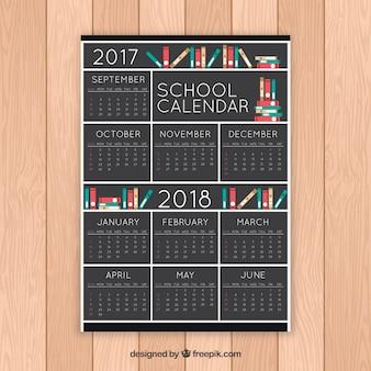 Elegant school calendar with books on shelves