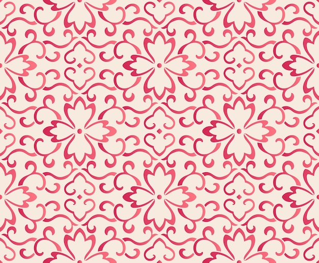 Elegant seamless chinese style botanic curve flower frame pattern. traditional retro wallpaper design.