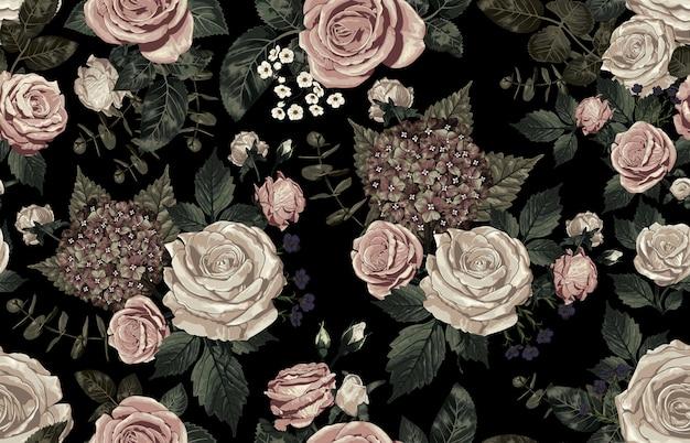 Elegant seamless pattern of blush toned rustic flowers