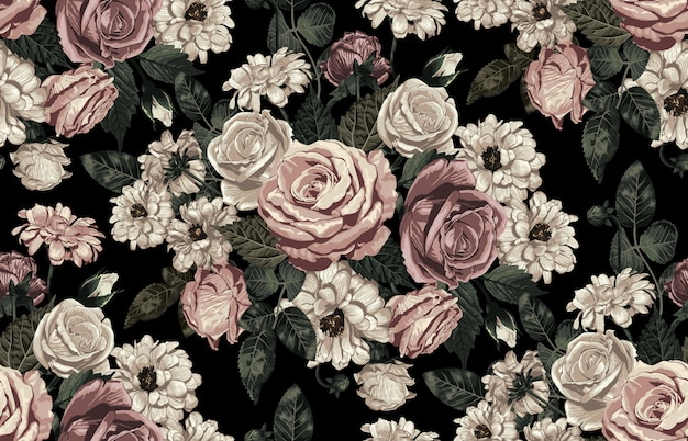 Elegant seamless pattern of blush toned rustic flowers