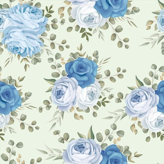 Elegant seamless pattern design blue floral