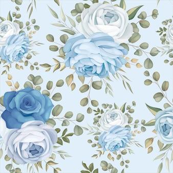 우아한 원활한 패턴 디자인 블루 꽃의