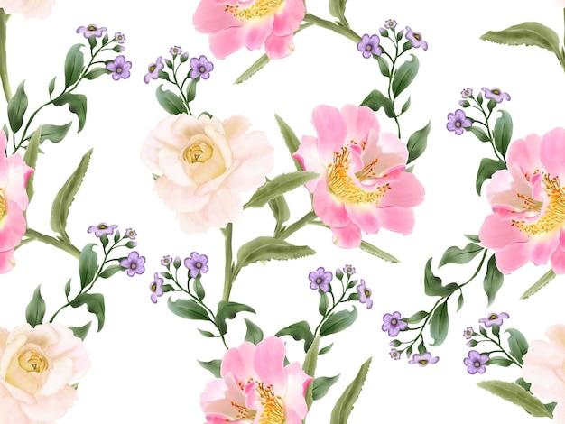 Элегантный бесшовный фон цветочная акварель