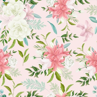Elegant seamless pattern floral with beautiful hand drawing flower and leaves