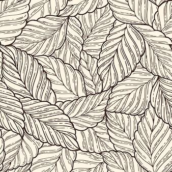Elegant seamless pattern leaves, vector illustration Premium Vector