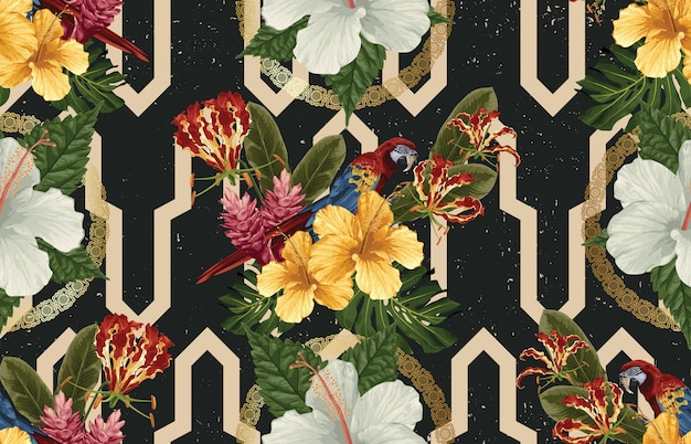 Elegant seamless pattern of tropical animals, flowers and leaves