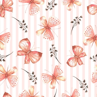 Elegant seamless pattern of watercolor butterflies