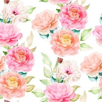 우아하고 완벽 한 패턴 수채화 꽃
