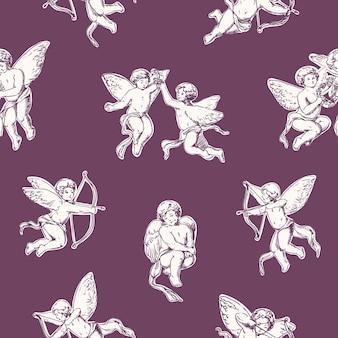 愛らしい天使とエレガントなシームレスパターン