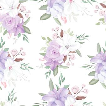 Elegante motivo senza cuciture con bellissimi fiori e foglie bianchi e viola