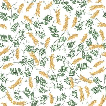 Элегантный бесшовный образец с цветущими хохлатыми цветами и листьями вики на белом