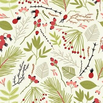 針葉樹の枝とエレガントなシームレスパターン