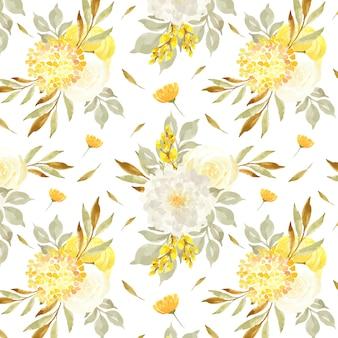 カモミールと黄色の花を持つエレガントなシームレスパターン