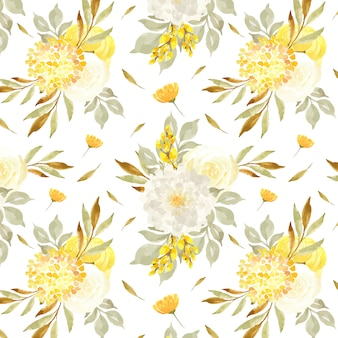 Elegant seamless pattern with chamomile and yellow flowers