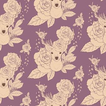 鹿の角と紫の上のバラとエレガントなシームレスパターン