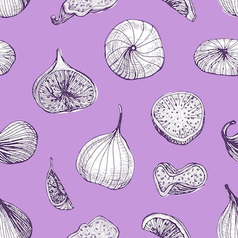 Elegant seamless pattern with delicious fresh and dried fig fruits hand drawn with contour lines on purple background.