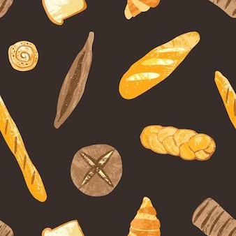 검은색 바탕에 맛있는 통곡물 호밀과 밀 빵, 갓 구운 제품, 달콤한 페이스트리와 함께 우아하고 매끄러운 패턴입니다. 직물 인쇄, 벽지, 포장지에 대한 벡터 일러스트 레이 션.