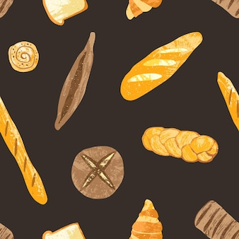Elegant seamless pattern with delicious whole grain rye and wheat breads, fresh baked products and sweet pastry on black background. vector illustration for fabric print, wallpaper, wrapping paper.