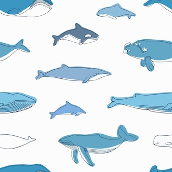 Elegant seamless pattern with different aquatic animals or marine mammals hand drawn