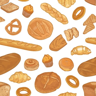 Elegant seamless pattern with different types of bread and delicious backed products on white