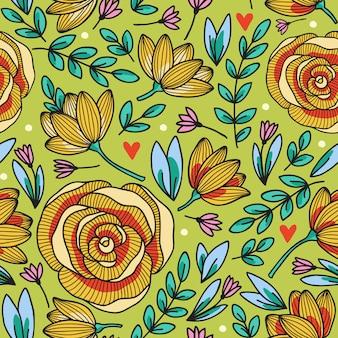 Элегантный бесшовный фон с цветами, иллюстрация