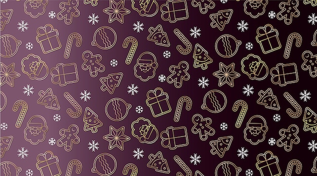 Elegant seamless pattern with golden christmas elements