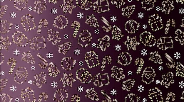 黄金のクリスマスの要素を持つエレガントなシームレスパターン