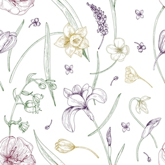 Elegant seamless pattern with gorgeous blooming spring flowers hand drawn with contour lines on white background